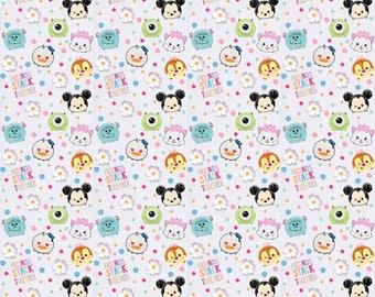 Disneys Tsum Tsum I love my friends Cotton Fabric