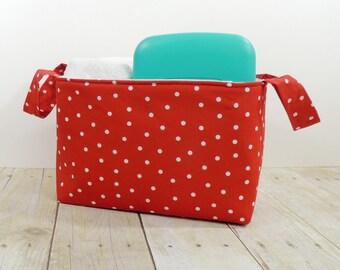 Fabric Storage Basket - Red with Dots Storage  Diaper Caddy - Toy Storage