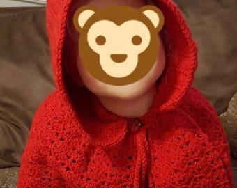 Red riding hood poncho, hooded poncho, crochet poncho