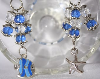 ON SALE! 20% OFF! Adorable Blue Fish and Silver Starfish Charms Beaded Bookmark Perfect for Reading on the Beach