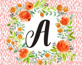 Girl Monogram Fabric - Watercolor Florals - Baby Lovey Blanket, Pillow, Nursery Decor Initial Letter Fabric - Fat Quarter Project
