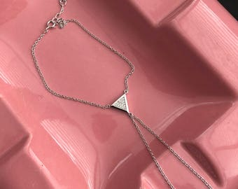 Silver Finger Bracelet with Triangle