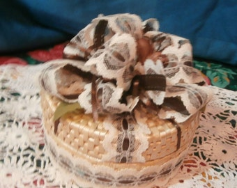 covered basket with brown silk flowers, cream lace ribbon,jewel box, treasure box, basket with decorated lid, gift,decor