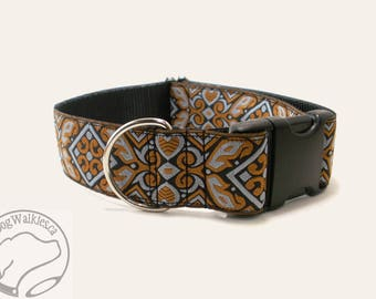 """Amber Silver Scrolls Dog Collar // 1.5"""" (38mm) Wide // Wide Martingale or Side Release // Choice of collar style and size // Orange // Grey"""
