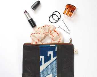 Zipper Pouch in Blue Wool and Waxed Canvas
