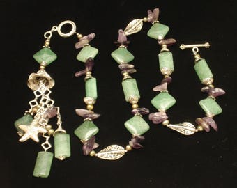 Natural Stone Charm Necklace Amethyst Chrysoprase