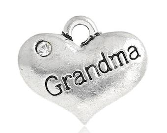 1 Piece Antique Silver Heart Grandma Charm