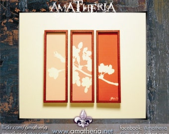 Modern miniature dollhouse tryptic painting 1/12, Sakura red