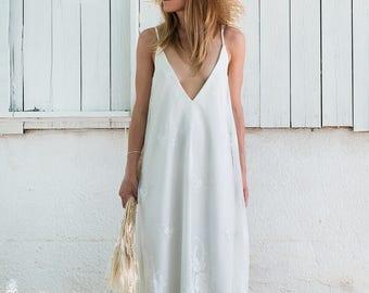 Beach wedding dress,BOHEMIAN wedding dress, simple wedding dress, lace dress, Boho wedding dress size S/M.