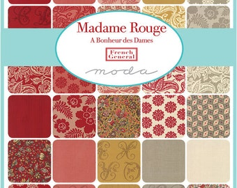 "Moda Madame Rouge Charm Pack, (42) 5"" Quilt Fabric Squares by French General"