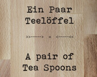 Wish text-a pair of teaspoons//custom order-a pair of tea spoons