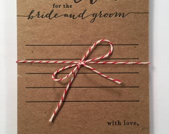 advice for the bride and groom, letterpress, wedding advice cards, rustic advice cards, bridal shower game ideas, bride and groom advice