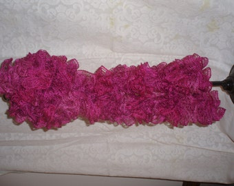 Hand knit hot pink ruffled scarf