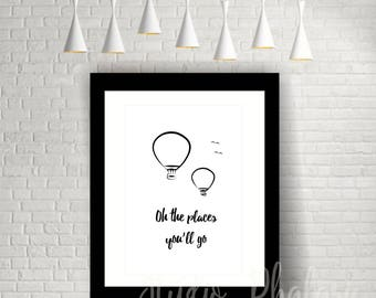 Inspirational Monochrome Print for Children - Oh The Places You'll Go