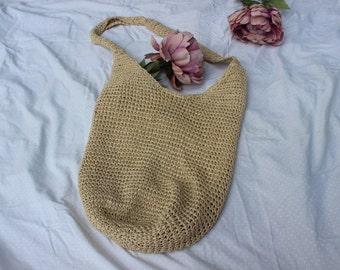 90s Sisal Crossbody Hobo Bag   Natural Fiber   Market Bag   Eco Friendly   Purse  