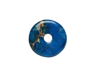 Focal gemstone component magnesite dyed, blue lapis round donut 40mm.