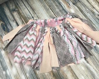 fabric TUTU / pink gray / tutu birthday tutu / Fabric & tulle tutu/  chevron tutu/ fabric tulle tutu/  9 to 12 month. infant toddler tutu