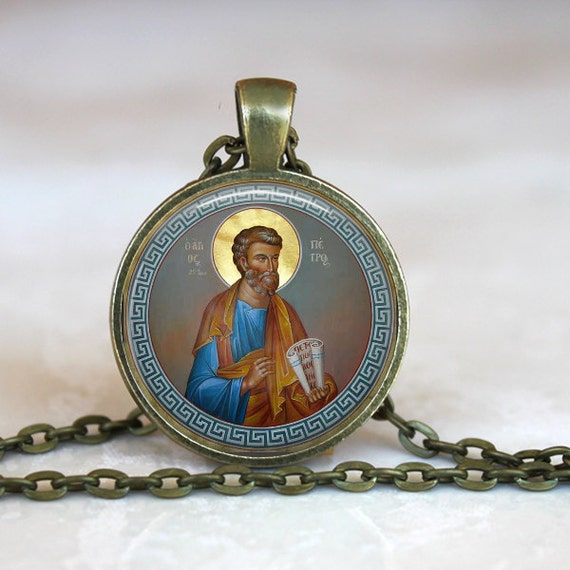 Saint Peter Icon Pendant with antique gold chain - 18 or 24 inch chain- Catholic Jewelry, St Peter Necklace