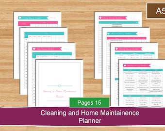 A5 Cleaning and Home Maintenance Planner Set, A5 size cleaning planner, Home Maintenance and Cleaning PDF Planner Pages, A5 Instant Download