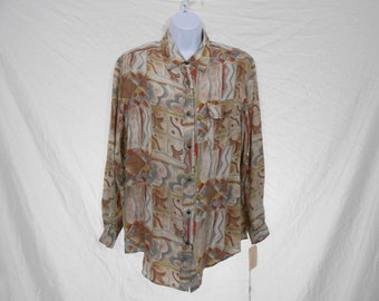 NWT Vintage 1980s Abstract Print Silk Button Up Dress Blouse // Large // 80s Neutral Tone Casual Secretary