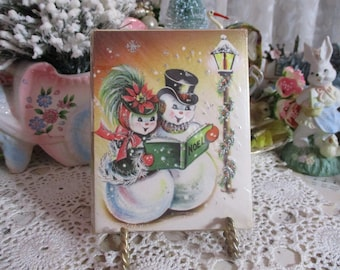 Vintage Christmas Invitations-1950's-UNUSED-Snowman