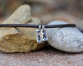Initial Charm Necklace / Gift for Mom / Gift for Husband / Gift for Father / Tiny Silver Initial Charm Necklace /Leather Chain Choose Length