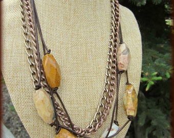 Rhyolite, Knotted Leather and Chain Necklace