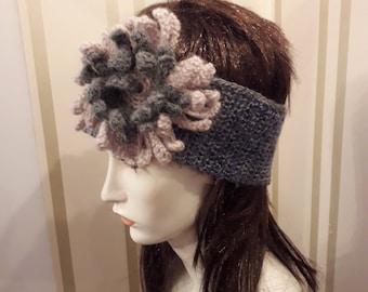 Crochet warmer headband with crochet flower