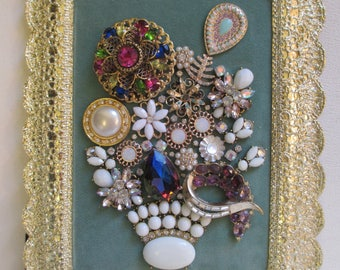 Jeweled Framed Jewelry Art Flower Bouquet Mint Green Purple Cream