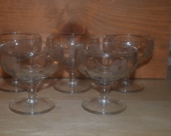 Set Of Five Etched Flower And Leaf Compote Dish