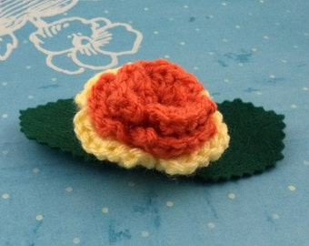 Crocheted Rose Lapel Pin - Orange and Yellow (SWG-PL-MPAJ01)