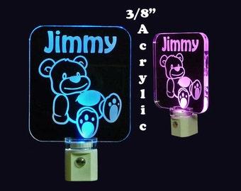 Personalized Baby Teddy Bear LED Night Light, Kids Lamp, Handmade, Animals