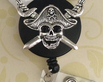 Rhinestone Pirate Retractable ID Badge Reel, Heavy Duty Badge Reel, Nurse Badge Reel