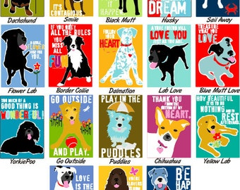 Colorful Dog Art Gift Magnet Your Choice 2 x 3 Heavy Duty Magnet