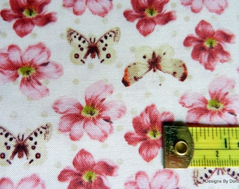 """One Yard Cut Quilt Fabric, """"Love and Kisses"""", Small Pink, Bugrundy Flowers, Butterflies, Windham Fabrics, Quilting-Sewing-Craft Supplies"""