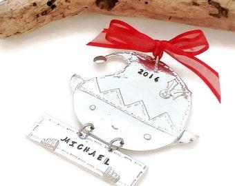 Personalzied Christmas Ornament - Elf Christmas Ornament - Hand Stamped Tree Ornament - Christmas Elf - Pewter Christmas Ornament