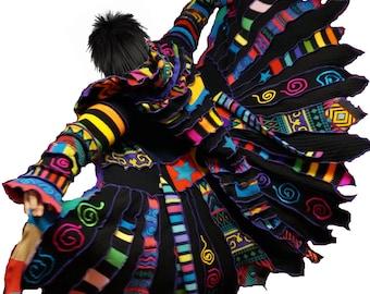 MADE TO ORDER listing, elf coat, sweater coat, rainbow coat, swirls, pixie coat, elf sweater, dream coat