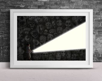 Lighting the Way Poster Print- Dark Character Horror Character Print- Scream Saw Flashlight Image Design Fine Wall Art Frameless 24x36 11x17