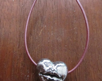 LIPS Pewter Heart Necklace, Besame Mucho, Whimsical, Pink Leather