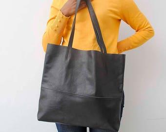 Black tote bag  black leather shopper bag  real leather tote shoulder bag leather bag leather purse leather tote bag women bag
