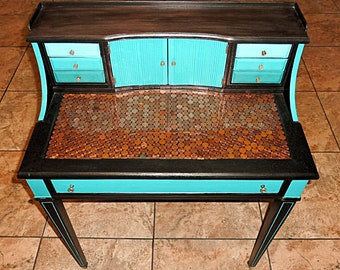 Small Vintage Penny-topped Ombre Writers Desk