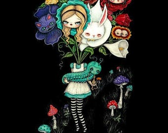 Alice in wonderland flowers Print Mad Hatter, white rabbit, flamingo Fairy Tale Wall Art