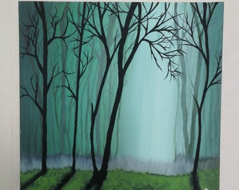 Acrylic Painting Canvas Handmade Drawing Nature River Forrest Magical Fog Trees