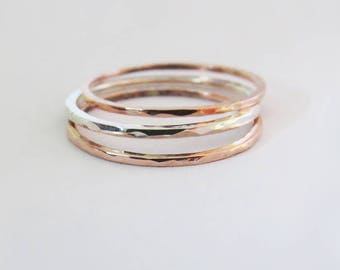 Set of Super Thin Stackable Rings, Hammered Silver Ring, Super Thin Copper Rings,  Mixed Metal Rings, 925 Sterling Silver Ring