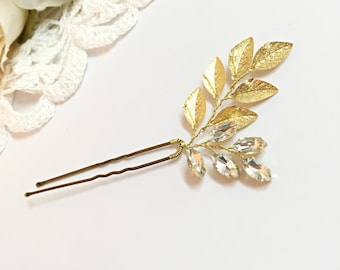 Bridal Hair Pin Crystal Hair Pins Wedding Hair Pin Leaf Hair Pin, Rhinestone Hair Pins Bridal Hair Accessories, Wedding Headpiece For Bride