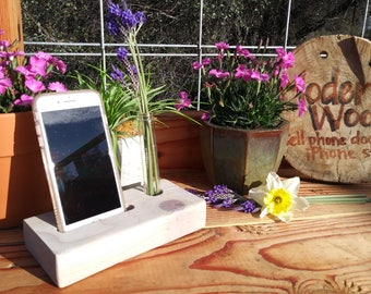 Cell Phone Docking Station, Glass flower vase, iPhone charging station, mobile phone, desk organizer, handmade charger, apple phone stand,