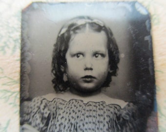 antique miniature gem tintype photo - 1800s, little girl with chubby cheeks, cutie pie