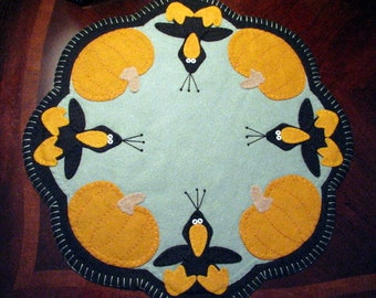 """Hand Stitched 17"""" """"Those Blasted Crows"""" Wool Felt Applique Penny Rug - Candle Mat - Fall Decor - Home Decor - Fiber Art - Crows - Pumpkins"""