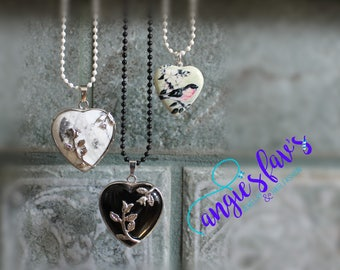 Ball Chain Necklaces, Heart, Stone Heart, Heart Locket