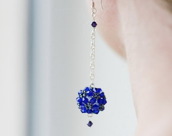 Round Blue Earrings, for her, long sea blue earrings